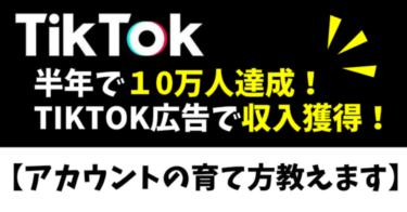 半年で10万人達成!TikTokから収入獲得【アカウントの育て方教えます】