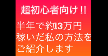 [超初心者向け]副業で半年に約13万円稼いだ方法紹介!!