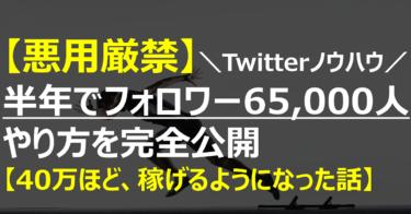 【悪用厳禁】半年でTwitter総フォロワー数:65,000人まで伸ばした方法【40万のお金を、稼げるようになった話】