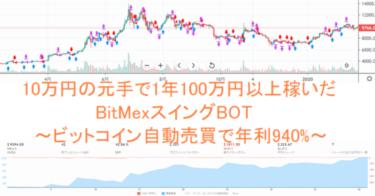 10万円の元手で1年100万円以上稼いだBitMexスイングBOT~ビットコイン自動売買で年利940%