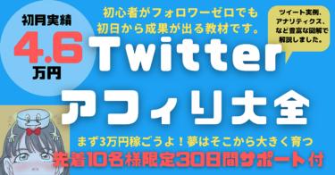 【先着10名様限定】Twitterアフィリ大全30日サポート付