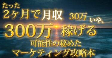 2ヶ月で月収300万目指せるマーケティング完全攻略本  ※ 10000円にする予定です。