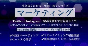 Twitter・Instagram・SNSを全く登録さえしていなかった私が「生きるためのマーケティングシリーズ」を学んで初めてのコンテンツで10日間で9万6千円の利益を上げることができました。